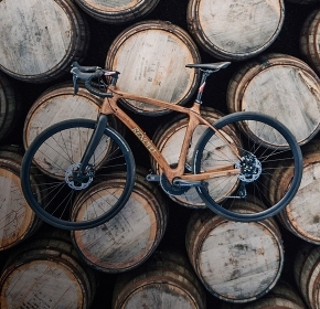 A bicycle crafted from whisky barrels
